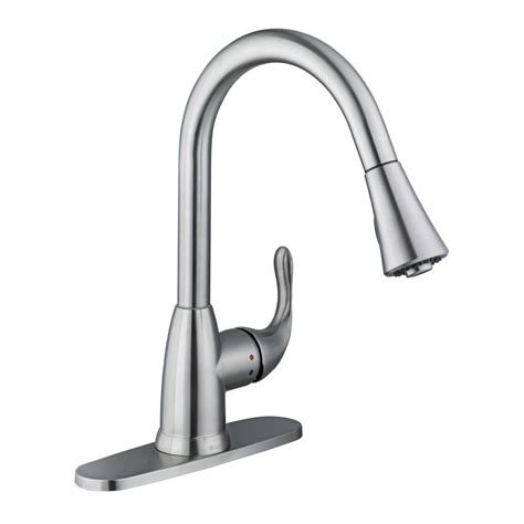glacier bay pull kitchen faucet glacier bay market single handle pull sprayer kitchen faucet in stainless steel 67551