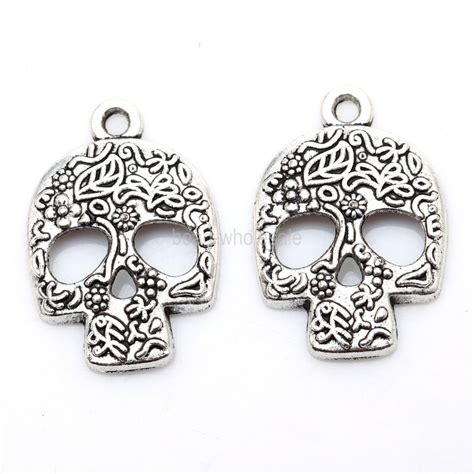 make jewelry wholesale wholesale 20pcs tibetan silver skull charms pendants for