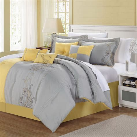 gray and yellow comforter sets harbor 8 yellow grey comforter set