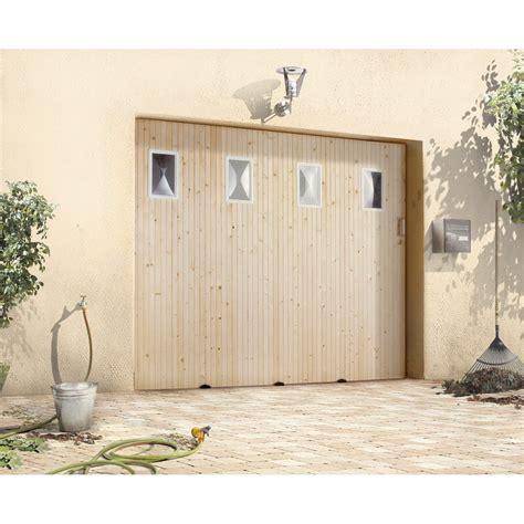 porte de garage coulissante avec hublot primo sapin 200 x 240cm leroy merlin