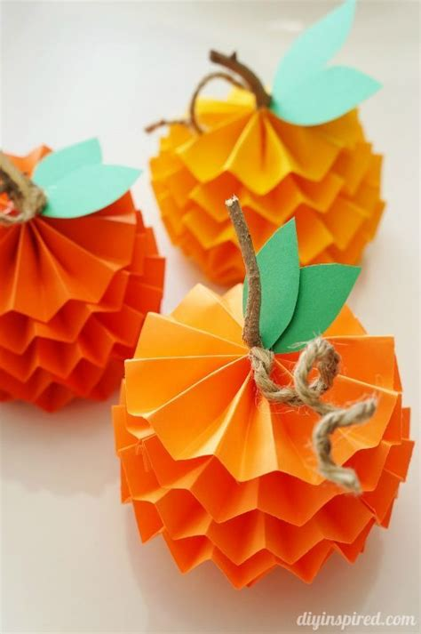 construction paper crafts for fall how to make paper pumpkins for fall diy inspired