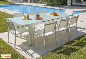 table jardin extensible aluminium et verre tremp 233 alga dcb garden