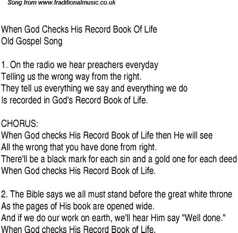 picture book lyrics when god checks his record book of christian gospel