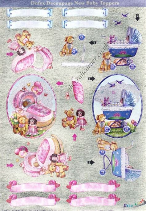 baby decoupage baby toppers die cut 3d decoupage pack from dufex