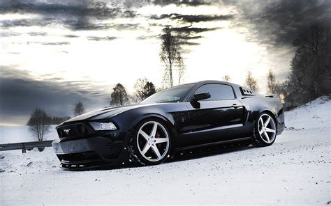 Car Wallpaper Winter by Ford Mustang Tuning Car Snow Winter Wallpapers Hd