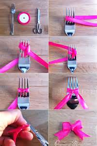 how to make a ribbon bow for a card diy mini ribbon bow using a fork