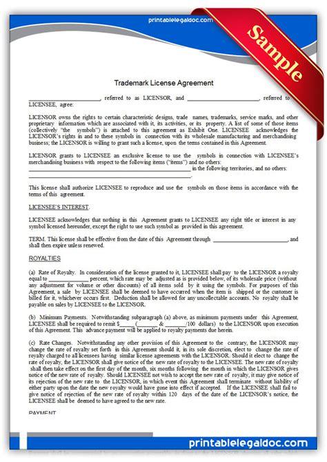 free printable trademark license agreement form generic