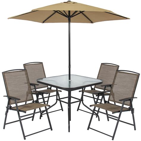 walmart patio table and chairs best choice products 6pc outdoor folding patio dining set