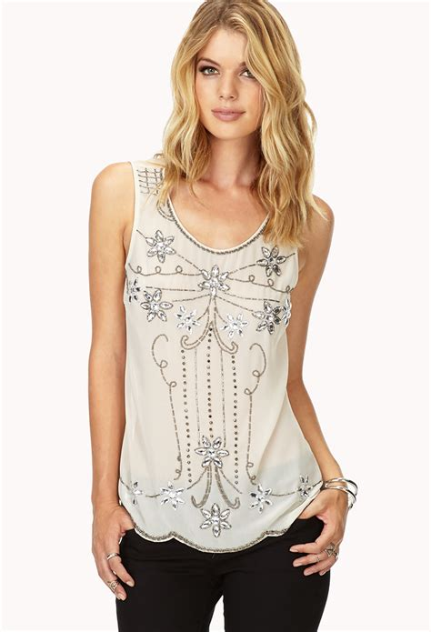 beaded tops forever 21 contemporary deco beaded top in lyst