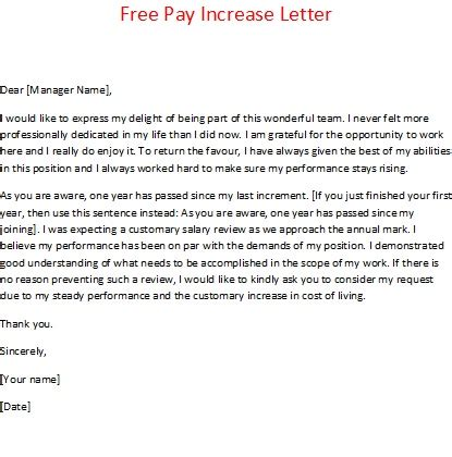 Free Pay Increase Letter