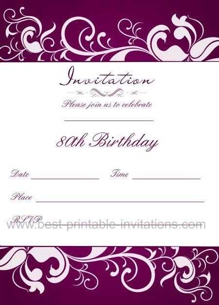 free printable 80th birthday party invitations