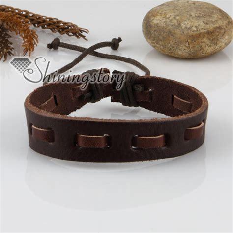 leather wristbands for genuine leather wristbands adjustable drawstring bracelets unisex wholesale
