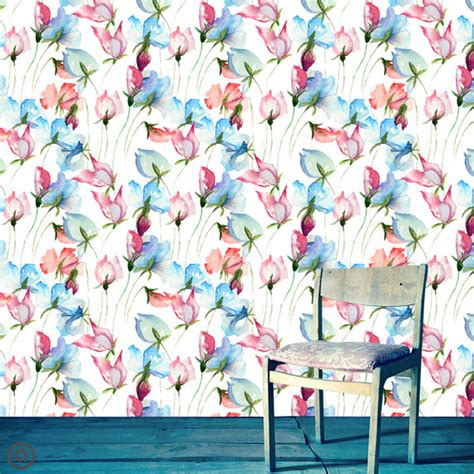 floral removable wallpaper removable wallpaper watercolor floral peel stick self