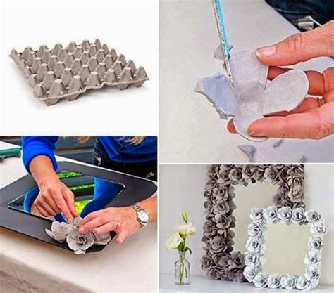 crafts using recycled materials for diy decorative mirrors w recycled egg paper flowers
