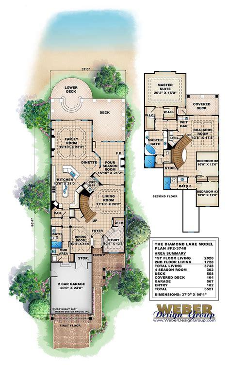 narrow lake house plans lake house plan weber design