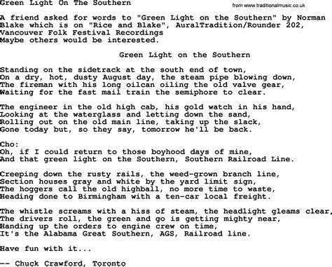 songs with light green light on the southern bluegrass lyrics with chords