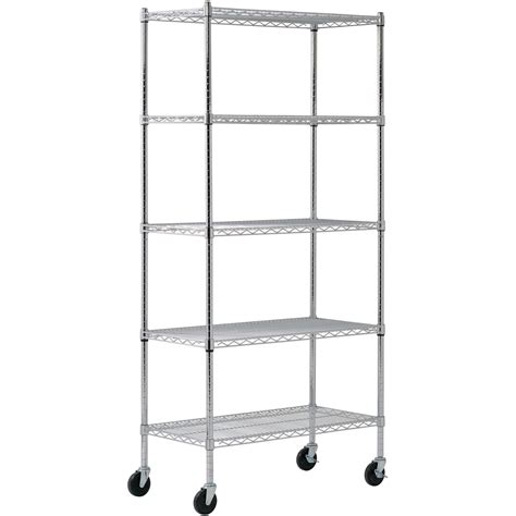 wire bookshelves 5 shelf mobile chrome wire shelving unit 36in l x 18in w