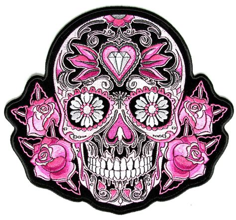 for sugar skull pink roses sugar skull patch embroidered iron on patch