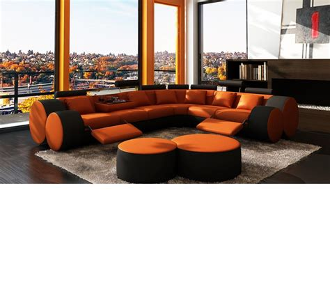 orange leather sectional sofa dreamfurniture 3087 modern orange and black