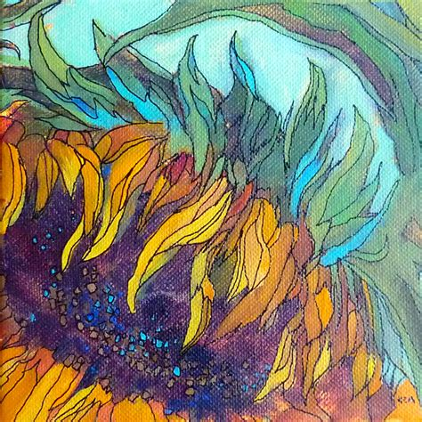 acrylic painting artist painting my world sunflower acrylic painting with ink lines