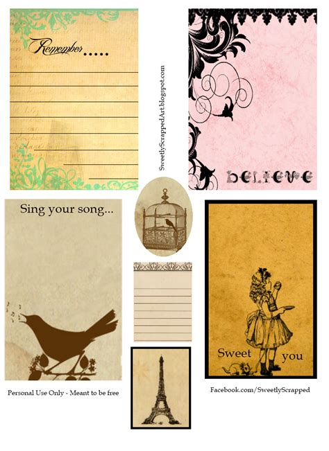 card for free to print sweetly scrapped printable journaling cards free and