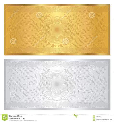 silver gold voucher template guilloche pattern royalty