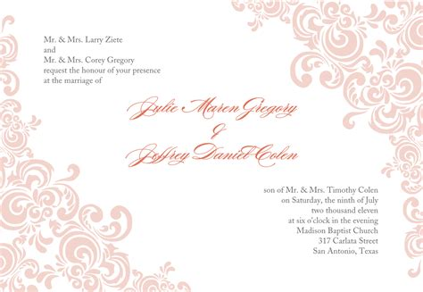 template for invitation return address for wedding invitations template best