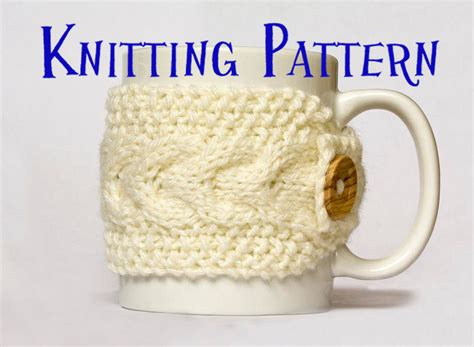knitted mug cosy free pattern instant pdf knitting pattern cabled mug cozy