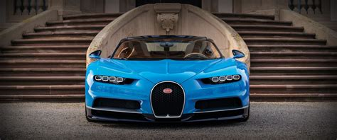 Car Wallpaper Front View by 3440x1440 Bugatti Front View Blue Supercar