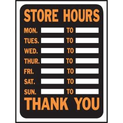 home depot paint hours hy ko 9 in x 12 in plastic store hours sign 3030 the