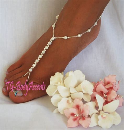 how to make foot jewelry with barefoot sandals foot jewelry wedding white ab 2pc