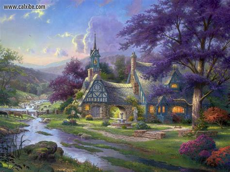 drawing painting kinkade clocktower cottage