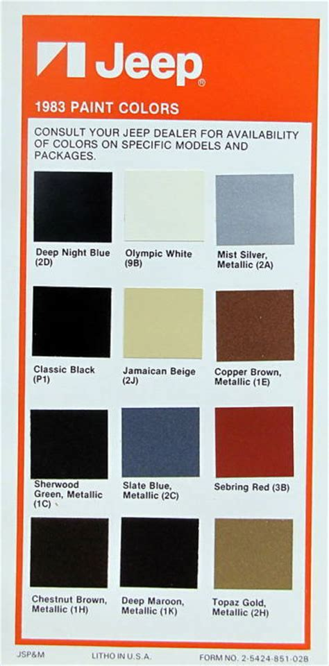 paint colors jeep 1983 jeep paint color palette ebay