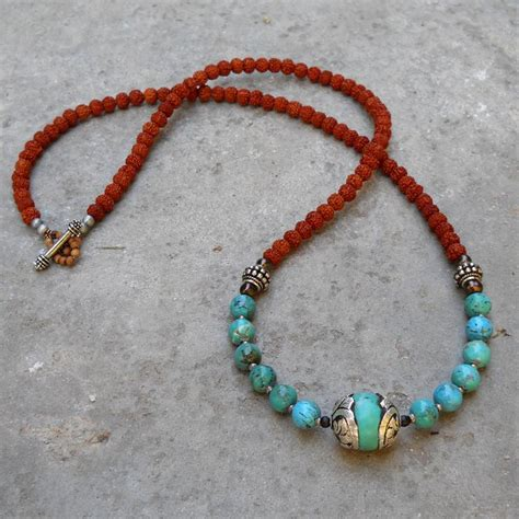 bead necklace 108 bead necklace rudraksha genuine turquoise and