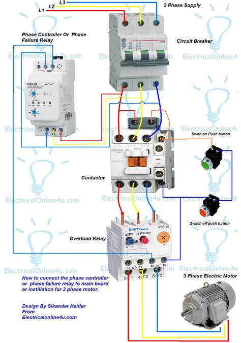 3 Phase Motor by Phase Controller Wiring Phase Failure Relay Diagram