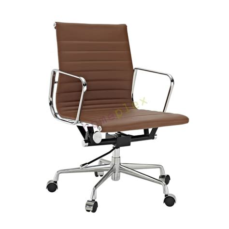 eames low chair replica eames low back ribbed leather brown office chair