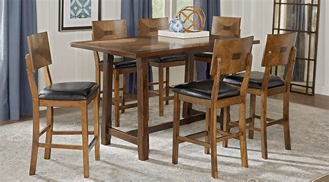 dining room counter height sets valleyside oak 7 pc rectangle counter height dining set