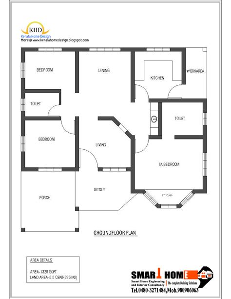 single floor house plan and elevation 1320 sq ft