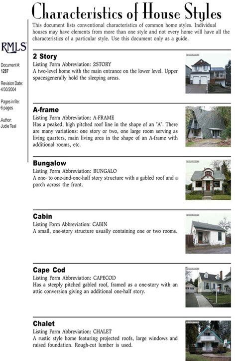 styles of houses characteristics of house styles
