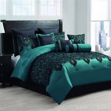 10 satin teal black flocked comforter set king size