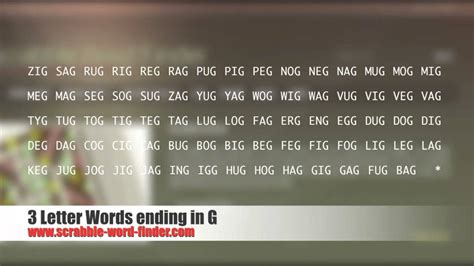 scrabble words ending in g 3 letter words ending in g
