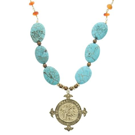 rosary bead jewelry antique rosary medal turquoise bead necklace the