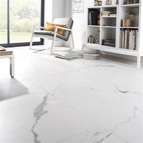 carrelage sol et mur blanc effet marbre rimini l 60 x l 120 cm leroy merlin
