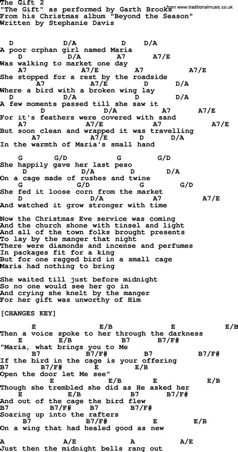 song the gift lyrics the gift 2 by garth lyrics and chords
