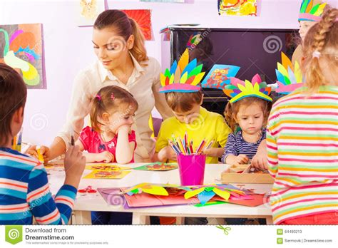 for kindergarteners to make and of in craft class stock photo