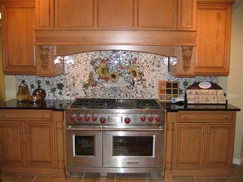 custom backsplash mirror traditional kitchen custom painted mosaic backsplash traditional