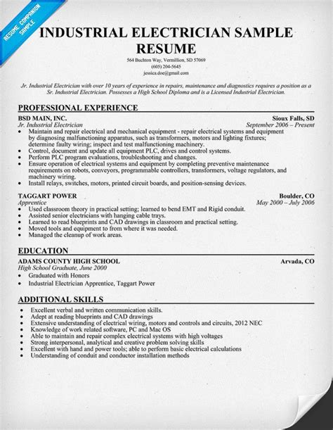 industrial electrician resume sample resume ideas
