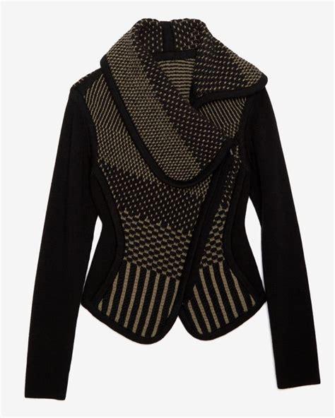 knit sweater jacket ohne titel knit sweater jacket in black lyst