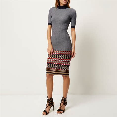 river island knitted dress river island navy knitted bodycon midi dress in blue lyst