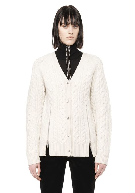 white cable knit cardigan wang cable knit v neck cardigan in white lyst